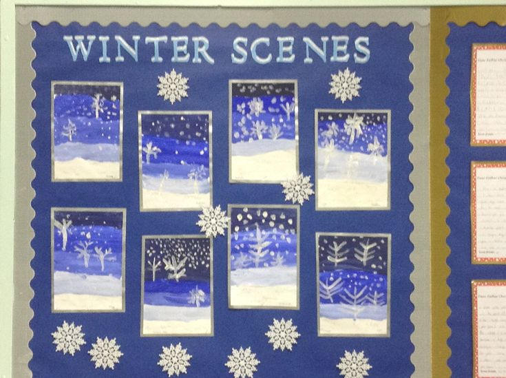 The children used different shades of blue for the background, added trees in white, a bit of snow and glitter - very effective.