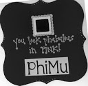 "Door dec for collegians with a small mirror glued on quatrefoil cardstock ""You Look Phabulous in Pink!""  Phi Mu letters cut with Alphalicious"