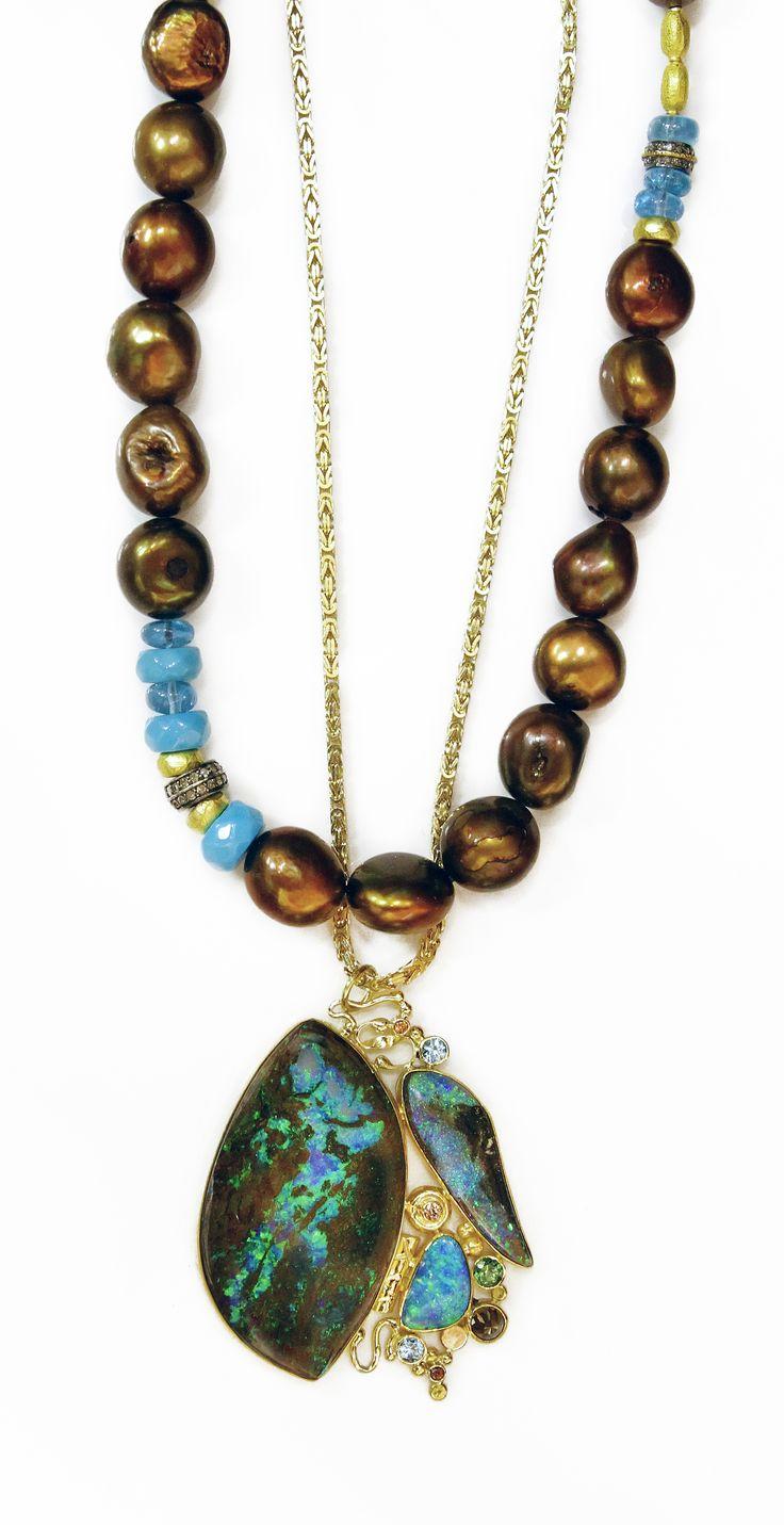 Jennifer Kalled, Opal in petrified wood, boulder opal, rose cut diamond, tsavorite and champagne zircon in 22k and 18k gold. Boulder opal from Bill Kasso. www.kalledjewelrystudio.com