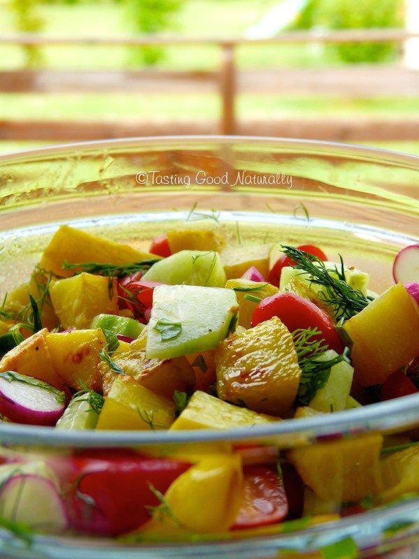 Découvrez cette Salade délicieuse de pommes de terre à la vinaigrette au Miso et au citron #vegan - Tasting Good Naturally