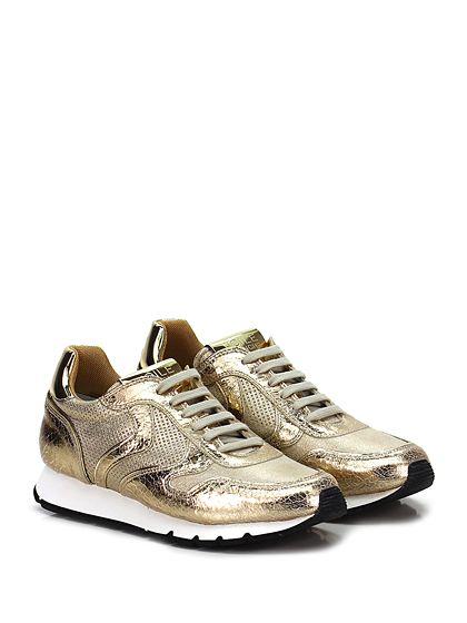 Voile Blanche - Sneakers - Donna - Sneaker in pelle laminata vintage effetto crack con parte micro forata e suola in gomma. Tacco 25, platform 15 con battuta 10. - PLATINO