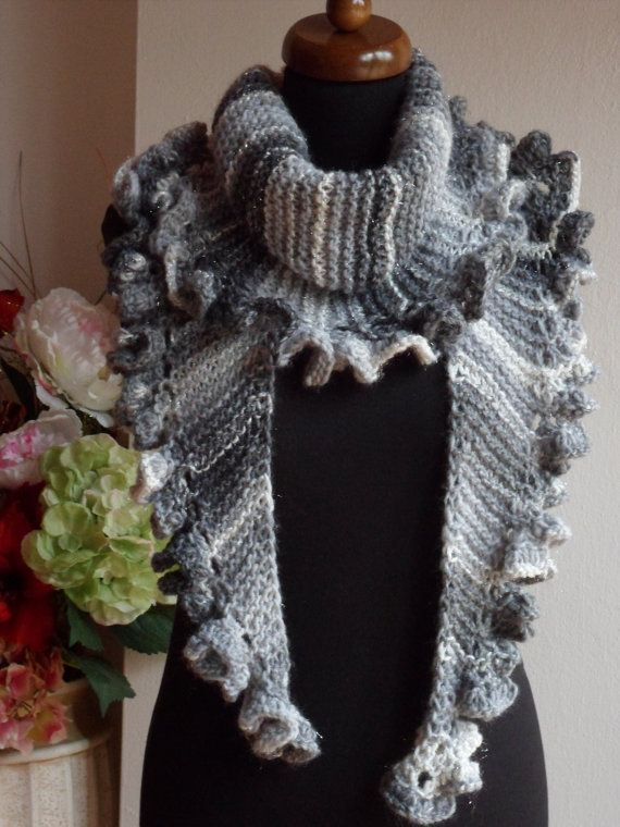 #Scarf with ruffled edge, made from extra soft merino wool is very impresive, in streaked grey color. It can be worn in many way, depending on taste of the owner.  WASH INST... #scarf #cowl #knit #crochet #accessories #wrap #gift #handmade #chunky #loop