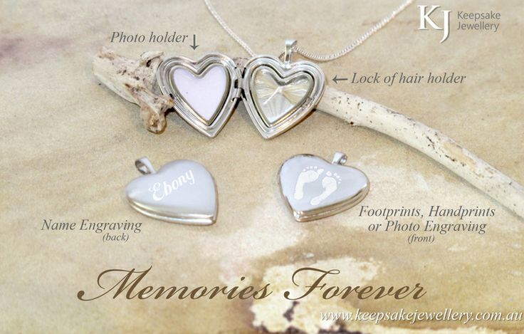 Inside this beautiful heart holds photos, a lock of hair (or other keepsakes) safely and securely behind acetate covers held in place with locking silver frames. We custom engrave the outside with photos, footprints, names, dates or anything someone would like.