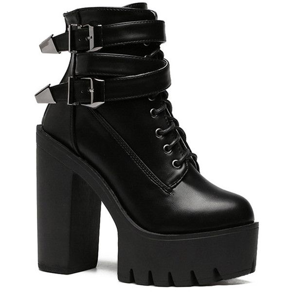 Double Buckle Platform Zipper Short Boots ($44) ❤ liked on Polyvore featuring shoes, boots, ankle booties, zip boots, ankle boots, platform bootie, platform boots and zipper bootie