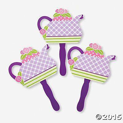 12 Tea Party Paper Teapot Fans - tea party supplies - Roses And Teacups