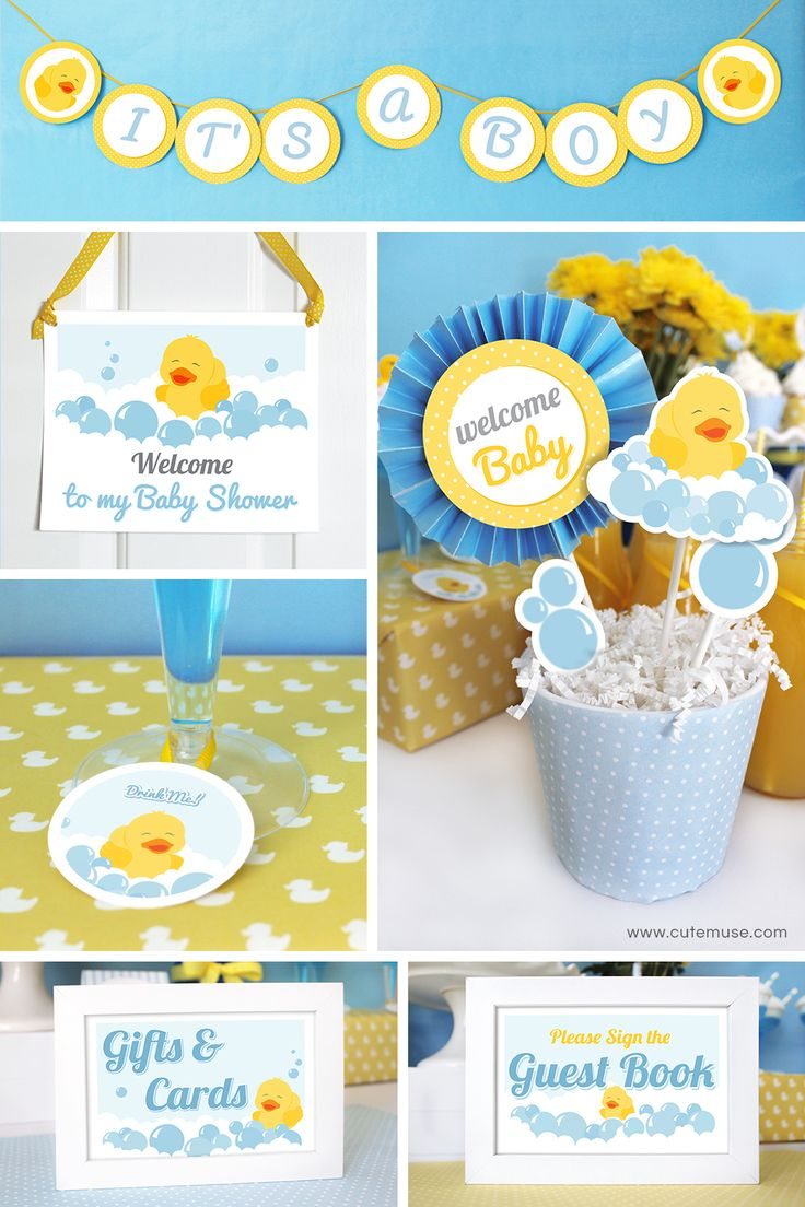 Duck Baby Shower Decorations, Printable Baby Shower Party Decorations, Rubber  Ducky Party Decorations Printable