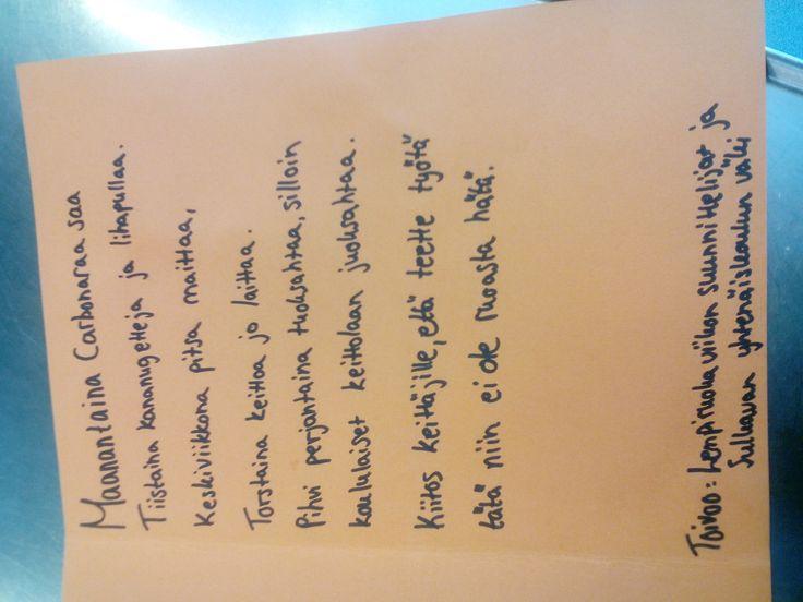 Koululaiset muistivat keittäjiä kortilla toiveruokaviikon jälkeen Sulkavalla.