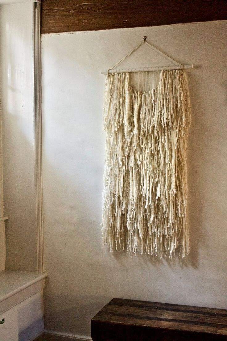 Kat Howard, Woven Wall Hanging: Tapestry Weaving in White Fringe with