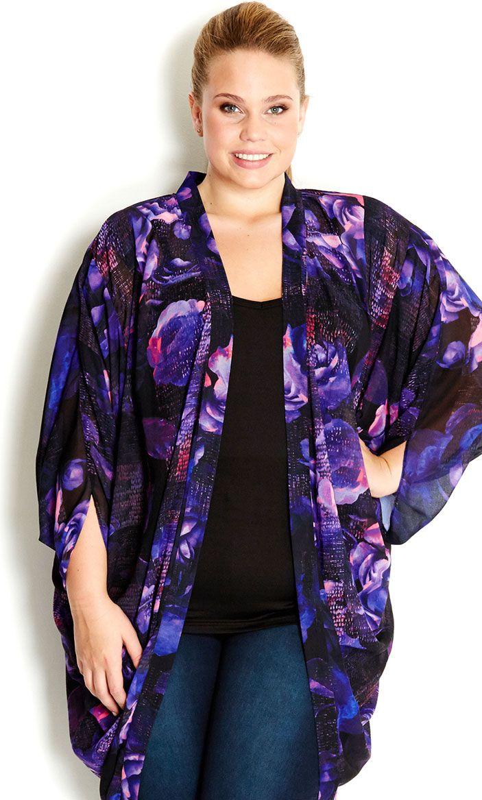 City Chic - ROSE KIMONO JACKET - Womenu0026#39;s Plus Size Fashion | Purple Purple Purple! | Pinterest ...
