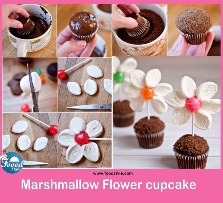 Creative marshmallow Flower cupcake idea ! - Foood Style