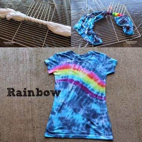 40 Fun and Colorful Tie Dye Crafts - Tulip T-Shirt Tie Dye Party – create heart, bullseye, rainbow, pie shaped swirl, multiple bullseye, messy spiral patterns - http://bigdiyideas.com