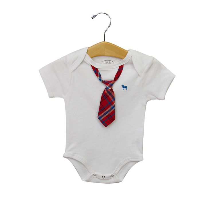 Super cute white body suit with neck tie. available in sizes of 3 months, 6 months, 9 months and 12 months