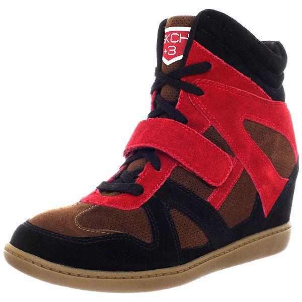 """Skechers Plus 3 """"Block"""" Wedge Sneakers in Black/Red"""