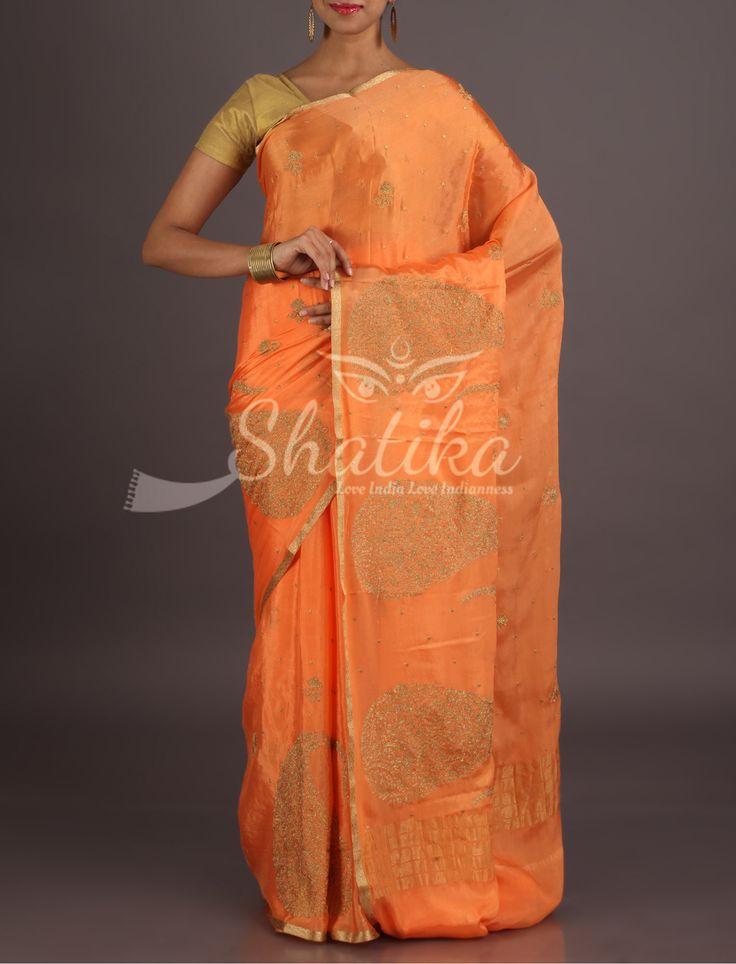 Riya Orange Passion Paisley Motifs Lace Border Pure Mysore Chiffon Saree
