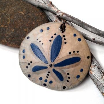 Painted sand dollar pendant steel blue design by CrowsdanceDesigns for $10.00