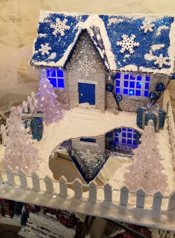 Blue And Silver Winter Wonderland Comes Complete With Mirrored Pond Crafted From Durable 2mm Chipboard Glitter Car Cosas De Navidad Casitas De Carton Navidad