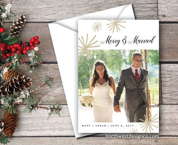 Gold Merry and Married Christmas Card Just Married Xmas Card