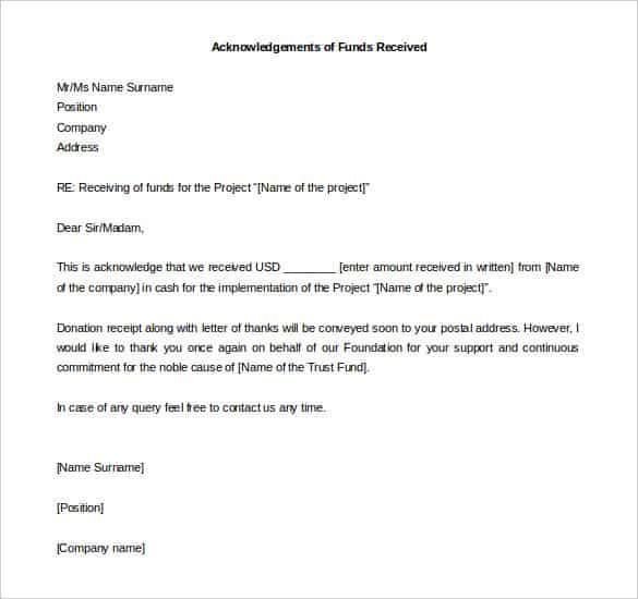Acknowledgement Letter Funds Received Word Format Download
