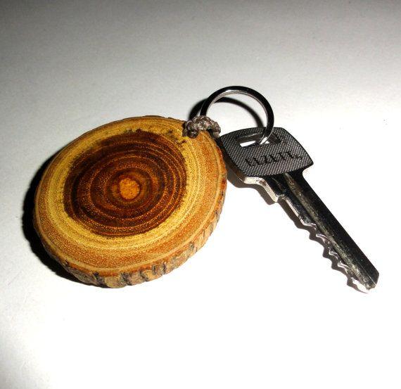 Keychains key chains key rings. Natural wood slice key by NayasArt
