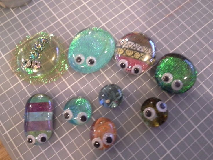 Buglets - Paper glued to glass pebbles, glued eyes. Then add magnet.