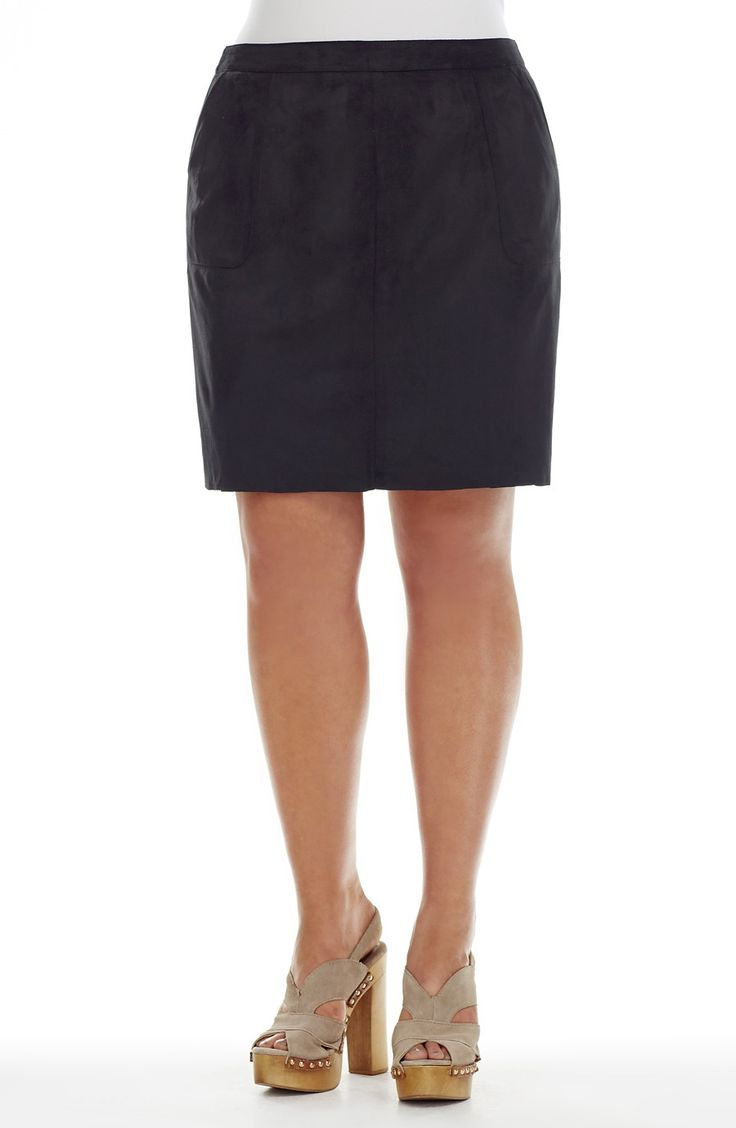 Mock Suede Skirt = Black -  Style No: T1495 Loose oversize top. This top has a White Panel at the top on the front and back. It has a contrasting Black Pane at the bottom. It has drop shoulder short sleeves and a placket front opening at the neckline. #plussize #dreamdiva #dreamdivafiles #fashion