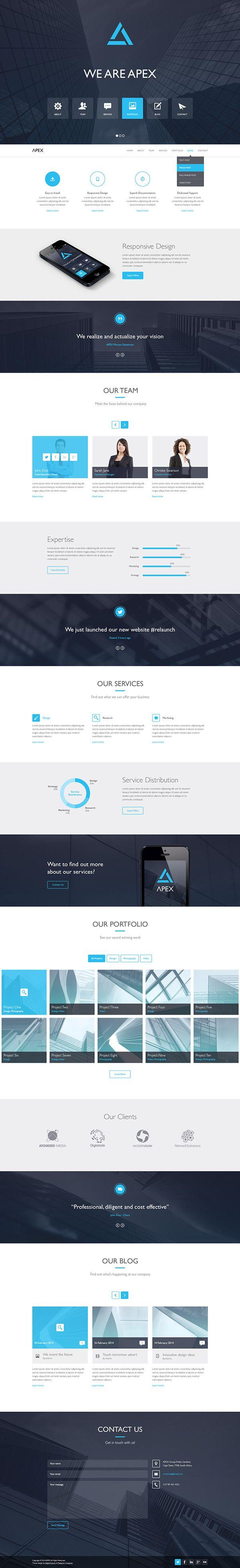 Apex Responsive WordPress Theme on Behance