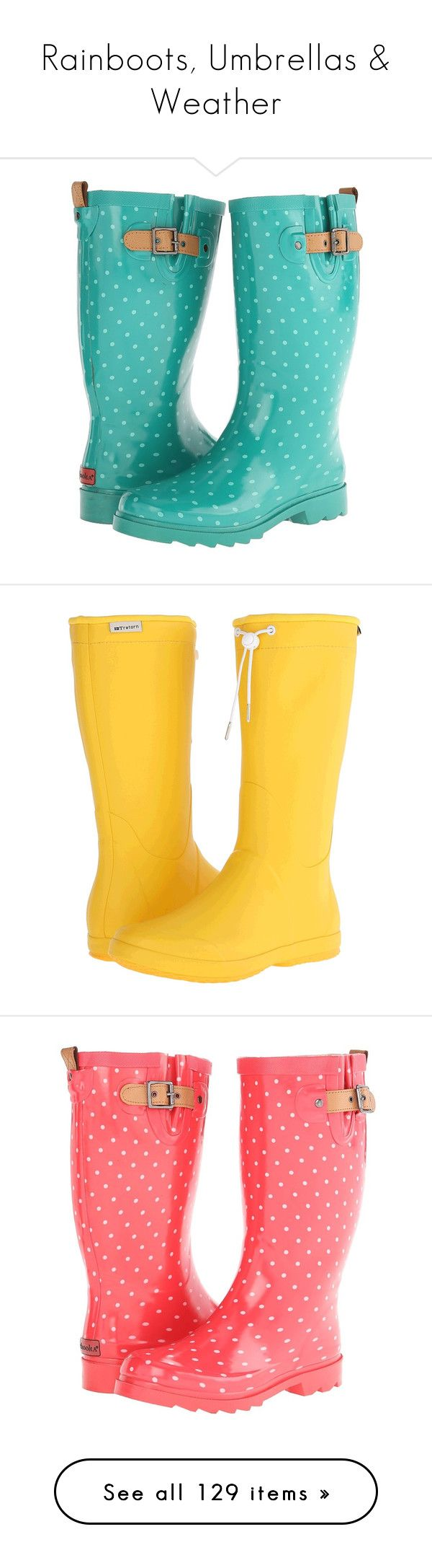 """""""Rainboots, Umbrellas & Weather"""" by bluecatreview13 ❤ liked on Polyvore featuring shoes, boots, rain boots, feet wear, jungle green, mid-calf boots, slip on shoes, polka dot rubber boots, mid boots and slip on rubber boots"""