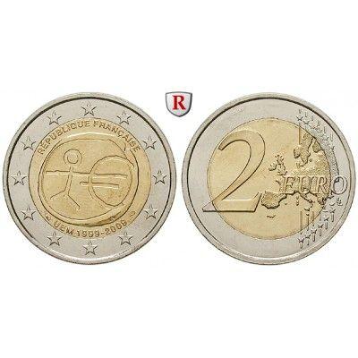Frankreich, V. Republik, 2 Euro 2009, bfr.: V. Republik seit 1958. Kupfer-Nickel-2 Euro 2009. 10 Jahre Währungsunion. bankfrisch… #coins