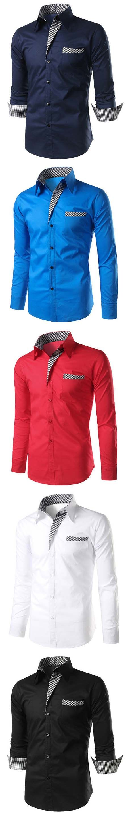 US$15.88#Mens shirts,Business Casual Fashion Slim Checked Button Up Designer Shirts for Men
