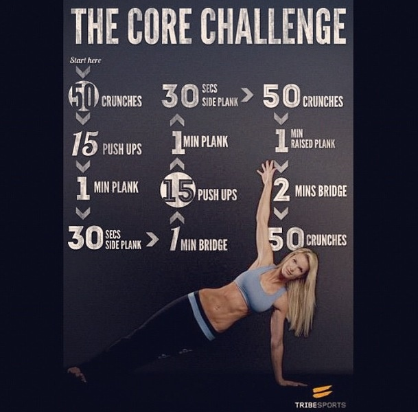 Core workout  This is a good one..my abs hurt for days