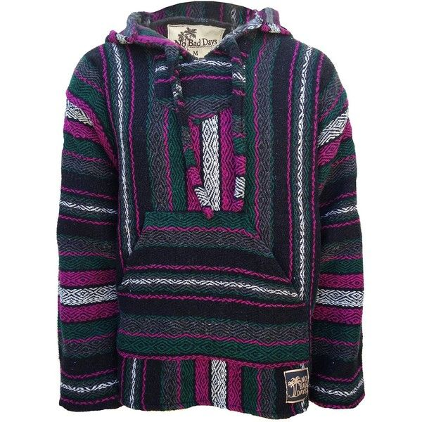 Baja Hoodie Mexican Poncho Pullover Fuschia Dark Green Gray White ($27) ❤ liked on Polyvore featuring white poncho and grey poncho