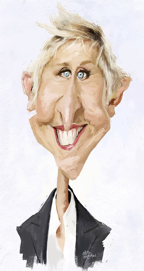 Caricatura de Ellen DeGeneres. Find local  photography lessons at [EducatorHub.com]