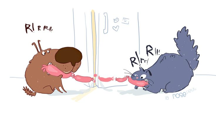 cat dog and sausage  http://rozovotruskova.blogspot.ru/