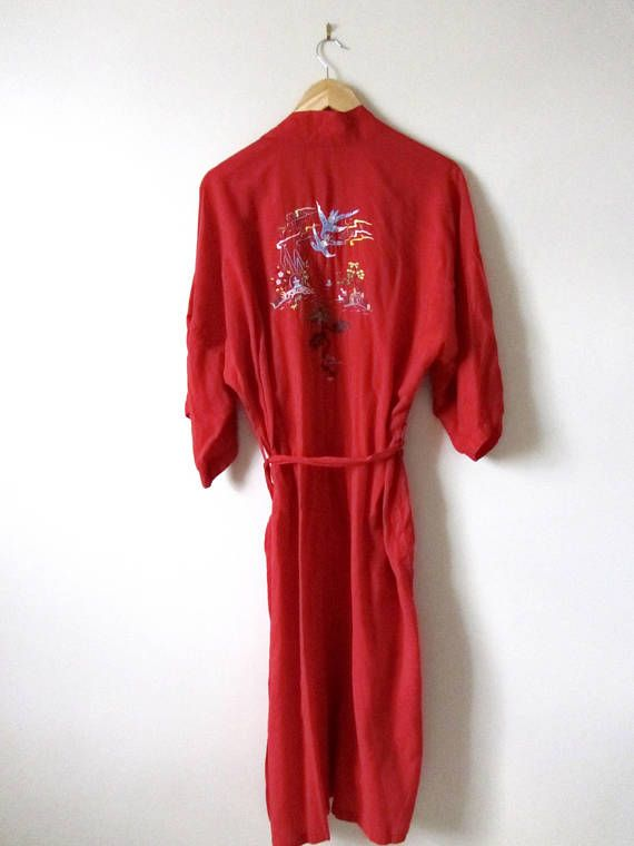 80s Hand-Embroidered Red Chinese Health Robe