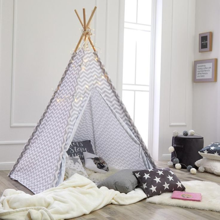 tipi zelt smilla hellgrau zickzack gl ckskind pinterest tipi zelt zelten und kinder zelte. Black Bedroom Furniture Sets. Home Design Ideas