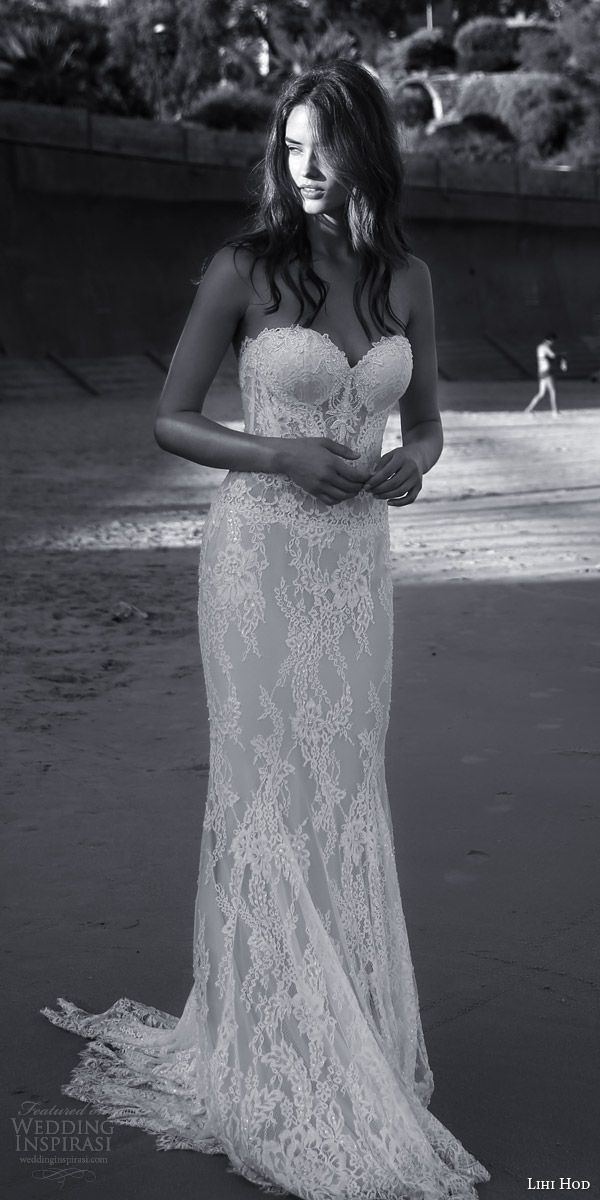 LIHI HOD #bridal 2016 sienna sophisticated lace sheath #wedding dress sweetheart neckline