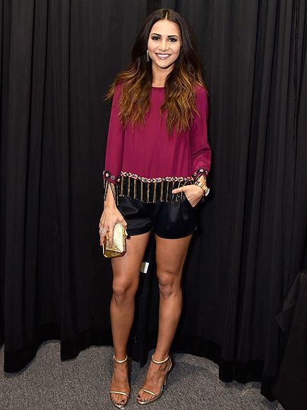 Fashion Week 2015: The Biggest Stars, Best Shows and Most A-List Parties | ANDI DORFMAN | The former Bachelorette proves her formal short game is strong by teaming hers with a beaded raspberry top and gold heels, all worn to the Nicole Miller show.