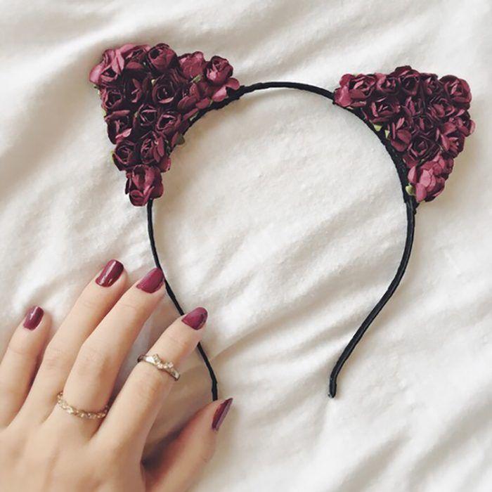 didadema con orejas de gato y rosas