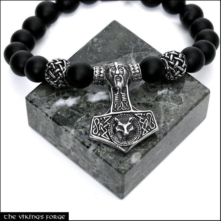 Viking God Odin with Wolf Mjolnir Custom Fit Luxury Power Bracelet with Matte Black Onyx Beads