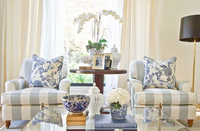 Best 20 striped chair ideas on pinterest black and - Pictures of blue and white living rooms ...
