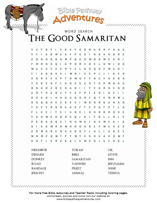 Enjoy our free Bible Word Search: The Good Samaritan. Fun for kids to print and learn more about the Bible. Feel free to share with others, too!