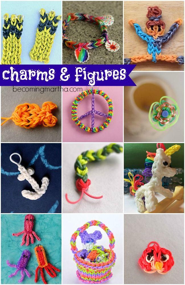 Charms and Figures Rainbow Loom patterns - Machines et élastiques : http://www.creactivites.com/268-elastiques-loom