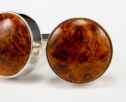 Wooden Cufflinks Amboyna Burl Silver
