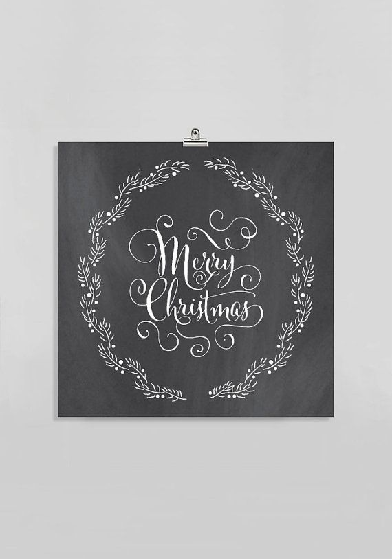 Square // Merry Christmas Sign // Chalkboard Christmas Gift //Black & White Calligraphy Writing // Fancy Holiday Decor Gift for Her