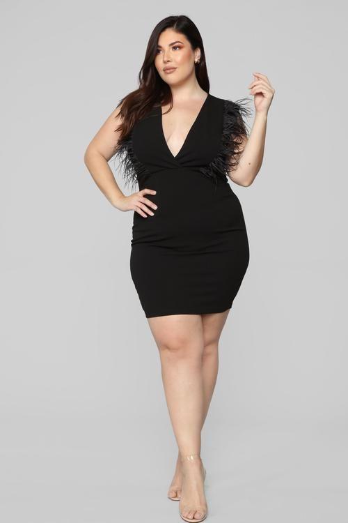 plus-size | Dangerous curves in 2019 | Dresses, Feather dress, Black ...