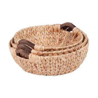 Honey Can Do STO-04469 Round Water Hyacinth Basket Set