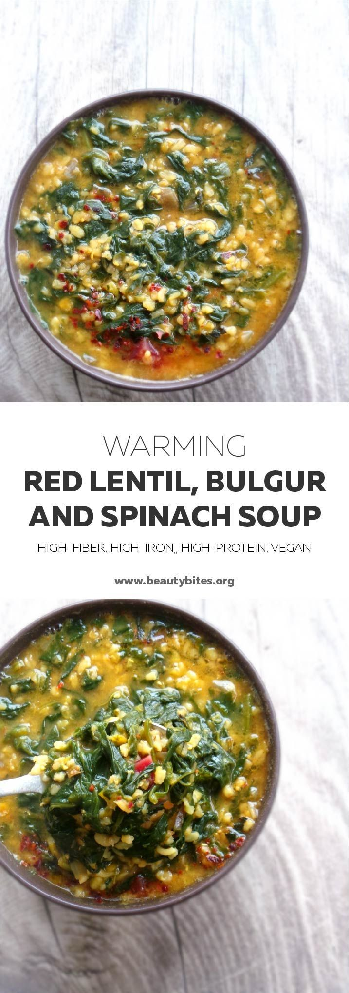 A delicious warming healthy soup recipe with spinach, lentils and bulgur. Vegan, high-fiber, high-iron and high-protein.