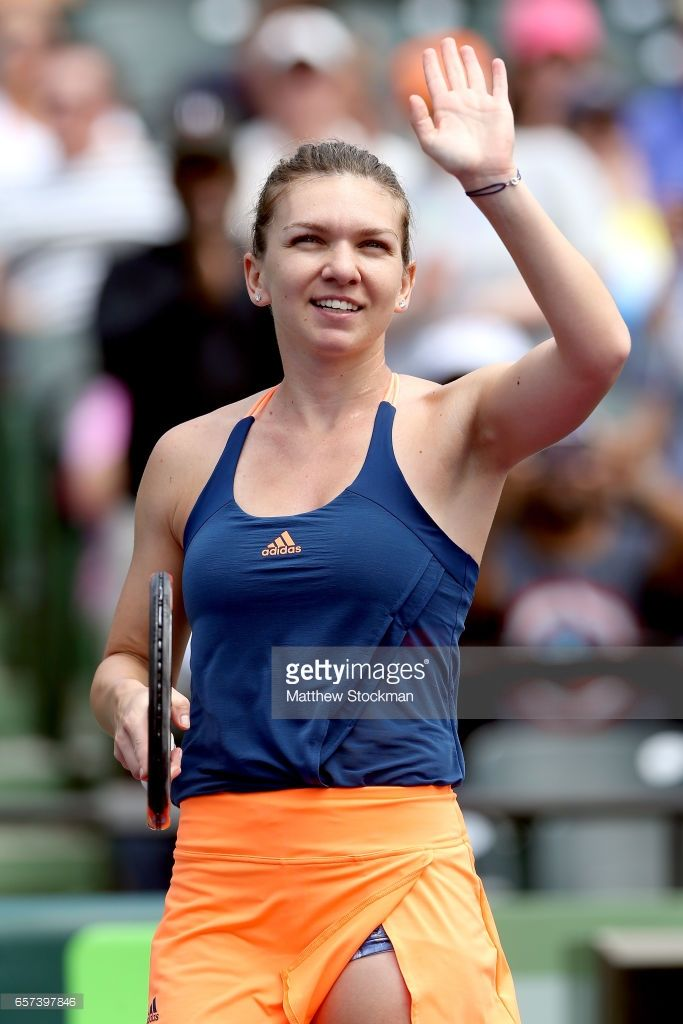 Simona Halep of Romania celebrates her win against Naomi Osaka of Japan during the Miami Open at the Crandon Park Tennis Center on March 24, 2017 in Key Biscayne, Florida.