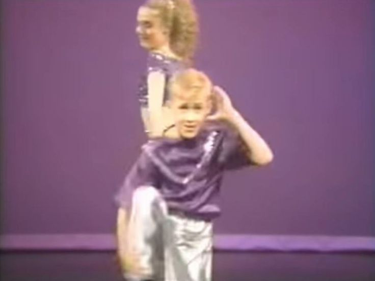 Ryan Gosling - dancing video YouTube screen capture, early 1990s.  Gosling and his sister Mandi developed a dancing act that they performed throughout Canada.  Several videos have been posted to YouTube - seek them out.