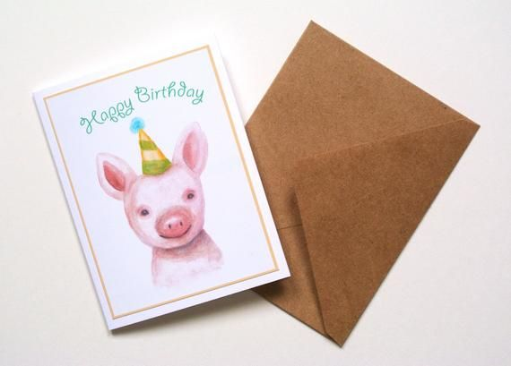 Pig Birthday Card Watercolor Pig Painting Print Cute Piglet Etsy Pig Birthday Happy Birthday Cards Pig Painting